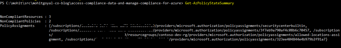 viewing compliance data from powershell