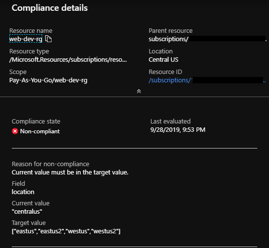 viewing compliance details for non-compliant resource - 2