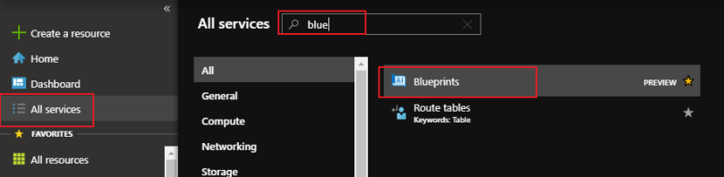 search and select blueprints from all services